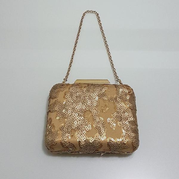 Clucth bordada dourado fosco fiszpan