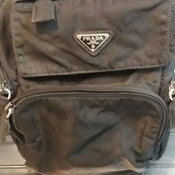 Mini mochila prada original nylon fechos em metal