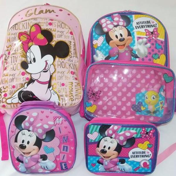 Mochila escolar minnie costas rosa