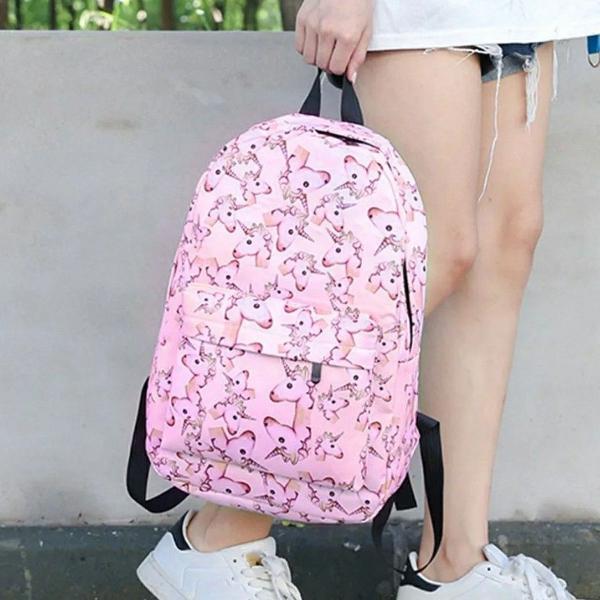 Mochila unicórnio escolar rosa juvenil