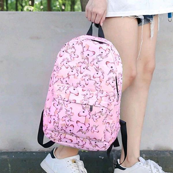 Mochila unicórnio rosa escolar juvenil