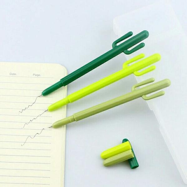 03 canetas cacto