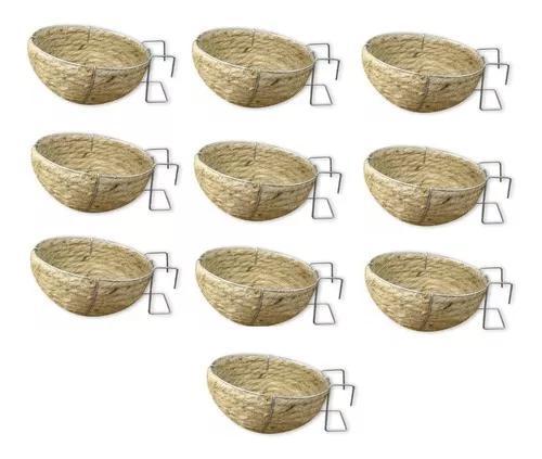 10 ninho corda sisal para canário belga alça arame