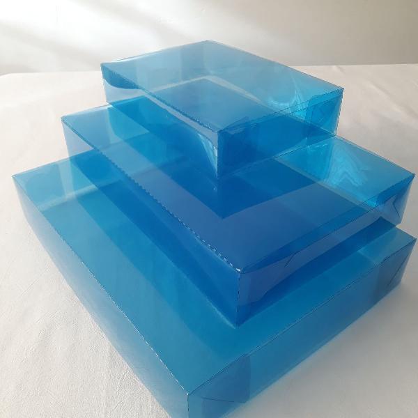 100 caixas p/ presente acetato azul transparente - 19x29,5x5
