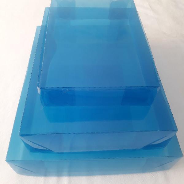100 caixas p/ presente acetato azul transparente - 25x25x5