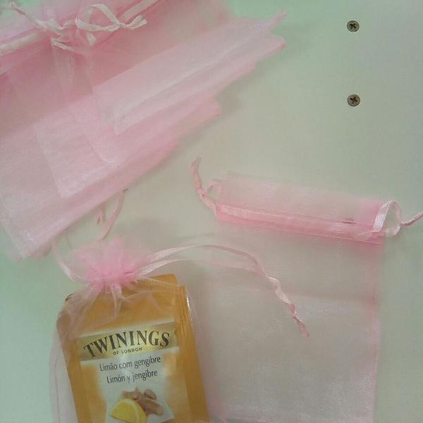 80 saquinhos de organza rosa 9x10 cm