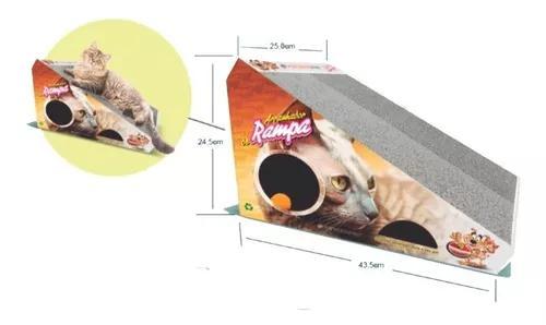 Arranhador de rampa gato com bolinha e papelão substituivel