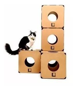 Brinquedo gato labirinto cubo box kit c/ 04 cubos