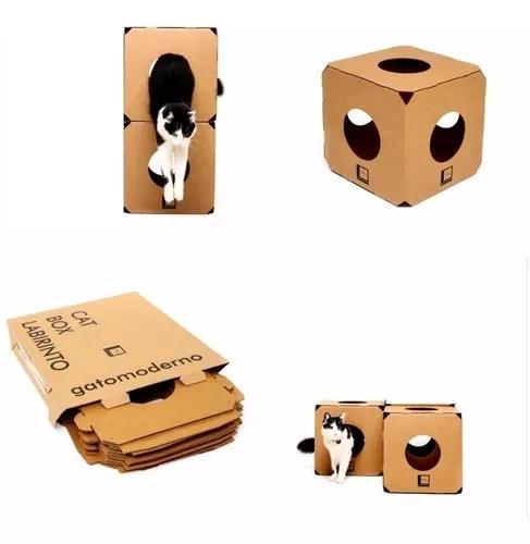 Brinquedo gato labirinto kit com 2 cubos papelao