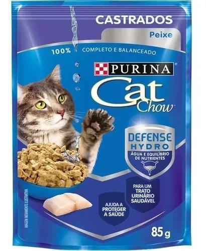 Cat chow sache castrados peixe 85 g combo com 15 unid