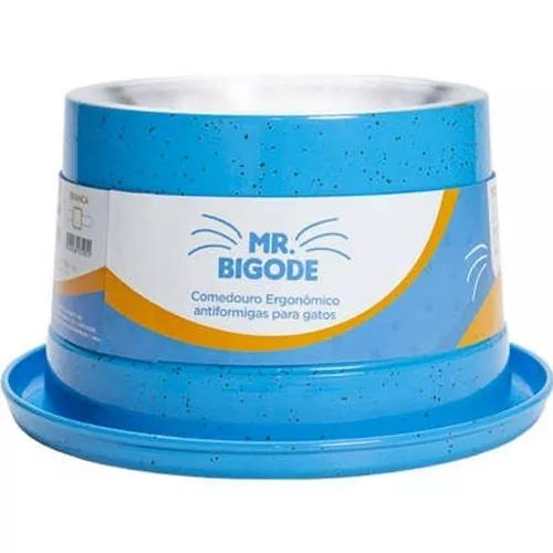 Comedouro ergonômico p/ gatos mr. bigode antiformigas azul