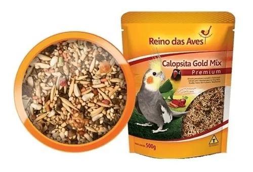 Kit 3 ração calopsita gold mix 500gr - reino das aves