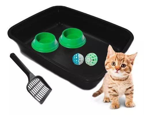 Kit bandeja sanitária pá para gatos comedouro bolinhas