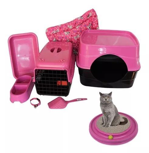 Kit gatos com arranhador caixa toca comedouro 7 itens+brinde