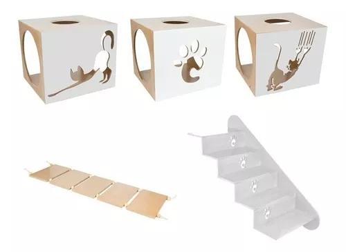 Kit nicho + escada + ponte para gatos pet cinza claro