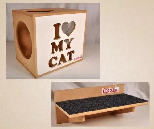 Kit nicho gatos + 1 prat arranh frente branca cj 02 pçs