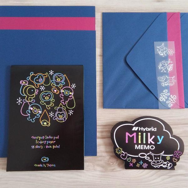 Kit papel de carta + bloquinho + adesivos vaquinha