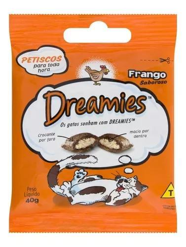 Petiscos para gatos sabor frango dreamies pacote 40g