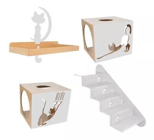 Playground para gatos escada nicho prateleira cinza carlu