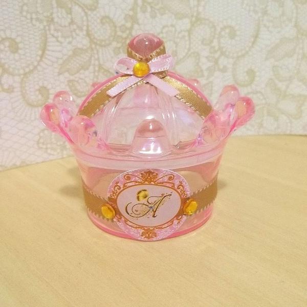 cúpula coroa tema dourado e rosa kit 10 unidades