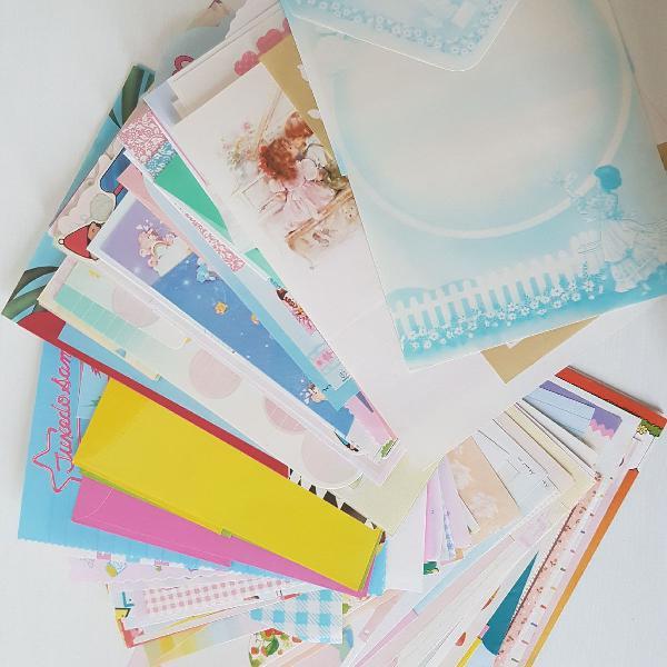 lote papéis de carta com envelope