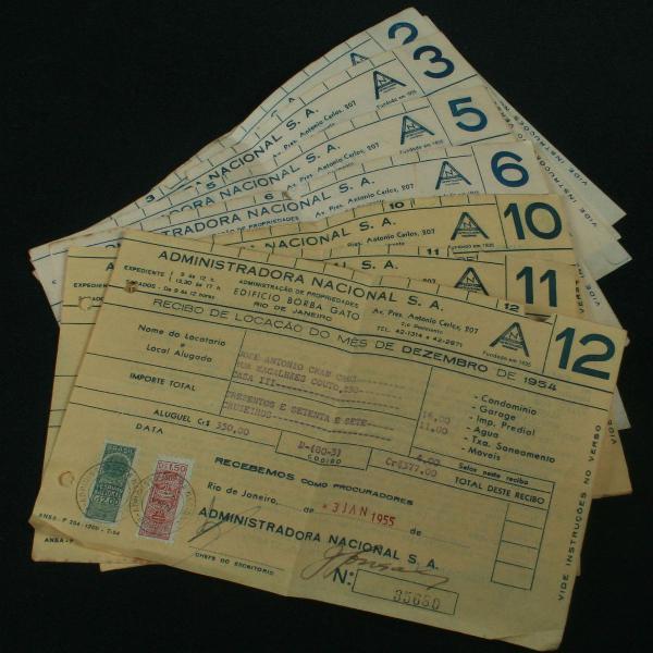 12 recibos de aluguel do ano de 1954 - estampilhados