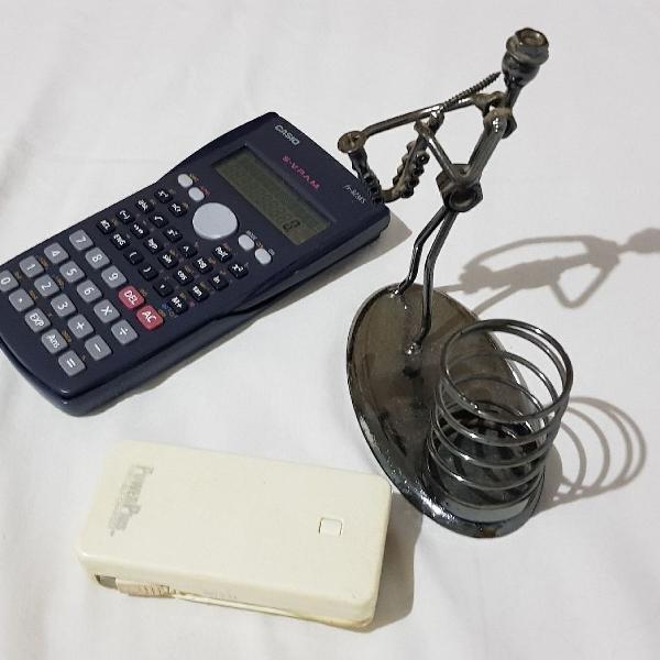 Combo - porta caneta + calculadora científica + power bank