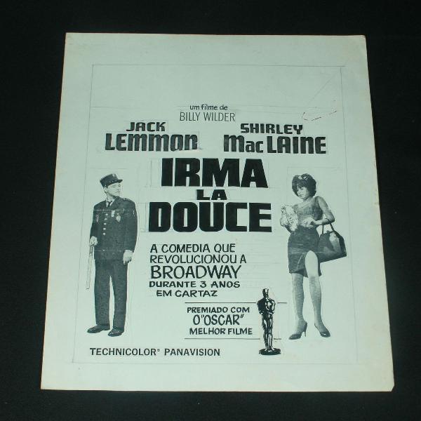 Arte final da publicidade do filme irma la douce - 1963
