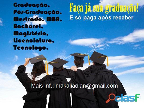 Diploma de graduação e pós ead sem pagar adiantado