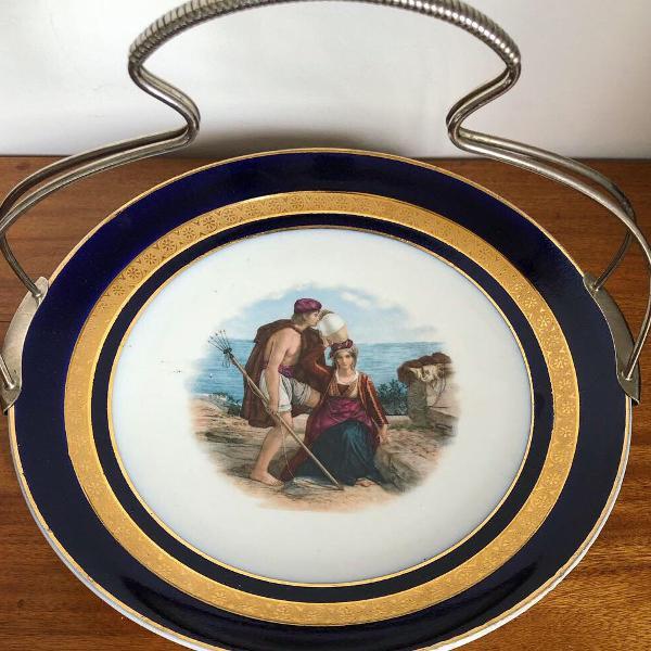 Grande cesta porcelana alemã e prata wmf