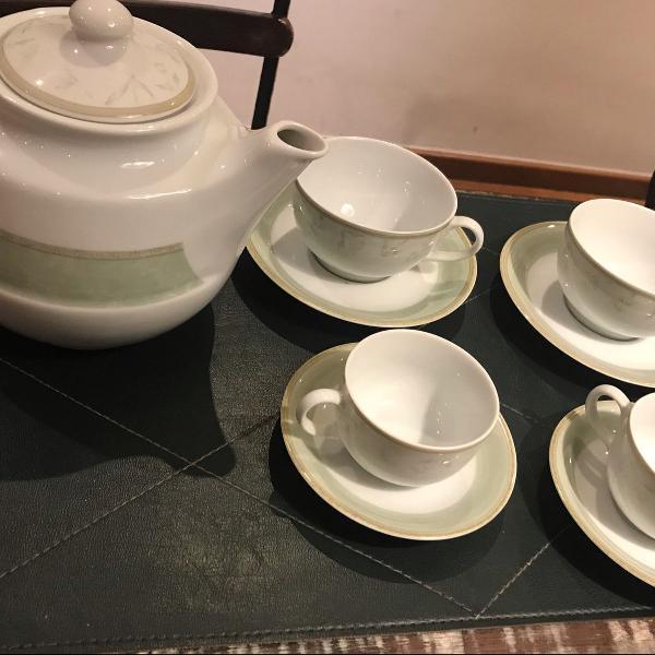 Jogo chá e café 12+12+1 chaleira schmidt porcelana