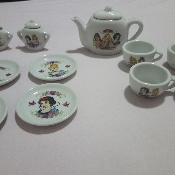 Kit miniatura jogo de chá princesas em porcelana coleção