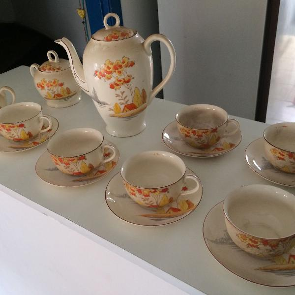 Lindo conjunto de chá, porcelana japonesa original casca de
