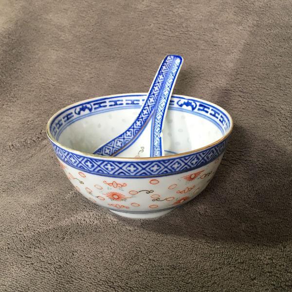 Pote e colher porcelana chinesa