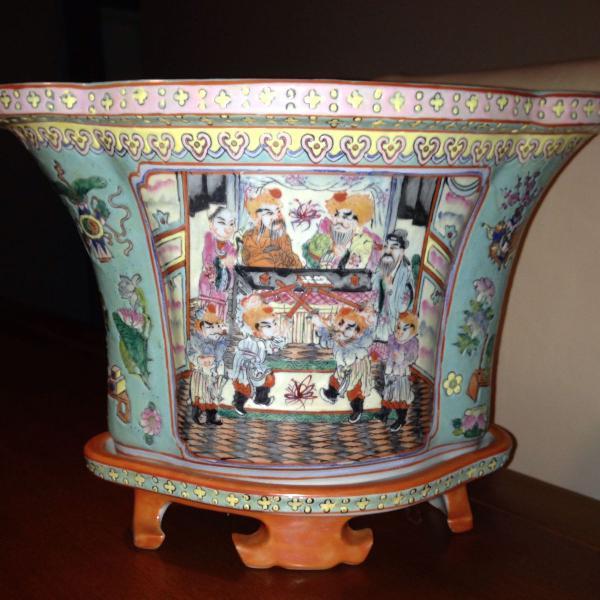 Vaso chines porcelana pintado a mao