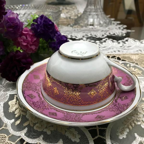 xícara chá café com pires porcelana steatita