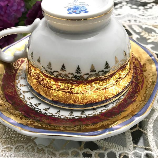 Xícara chá/café com pires porcelana germer antiga