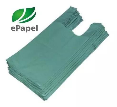 1.000 sacola plástica pequena 28x38 reciclada verde d22