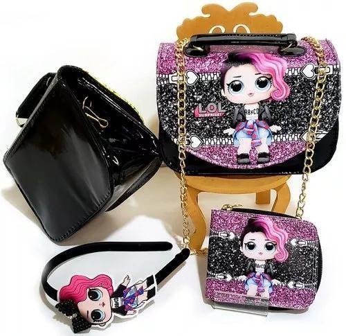 10 kits bolsinha lol luxo com corrente carteira e tiara