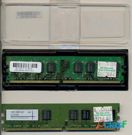 2 Pentes De Memória RAM DDR2 De 1 GB PC 667 Para Computador De Mesa