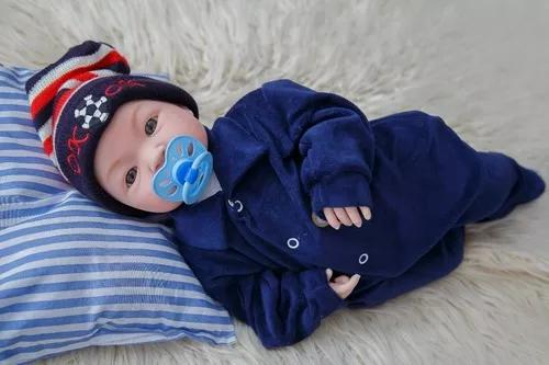 Bebê menino com macacão tipo reborn 43cm recém nascido