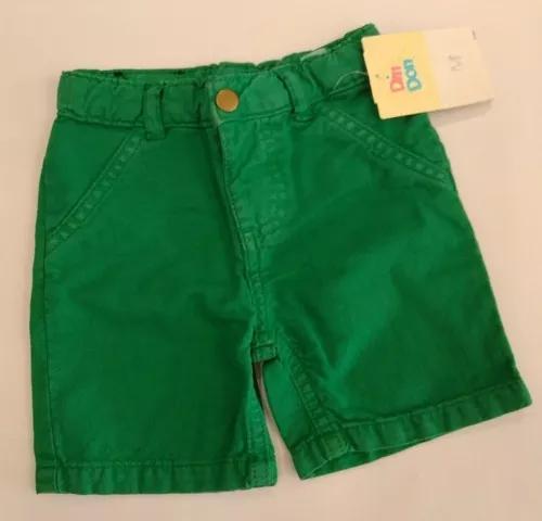 Bermuda bebê menino brim verde infantil criança cód. 012