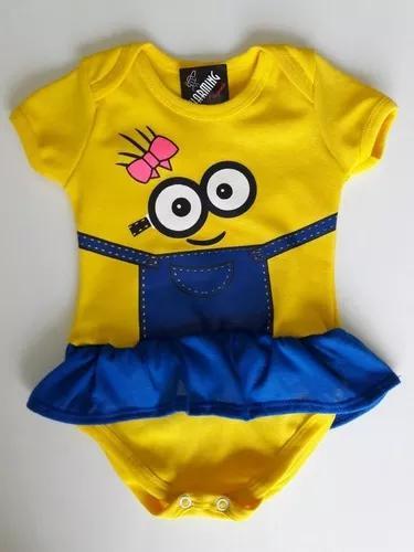 Body minions menina infantil para bebê criança