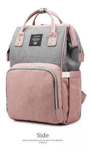Bolsa mochila maternidade multifuncional lequeen - cinza