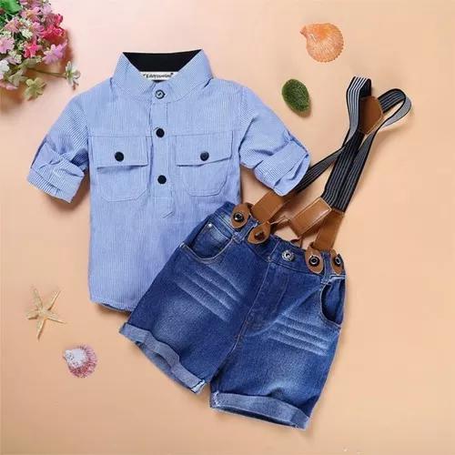 Conjunto crianca bebe jeans 3 peças 6 meses a 6 anos