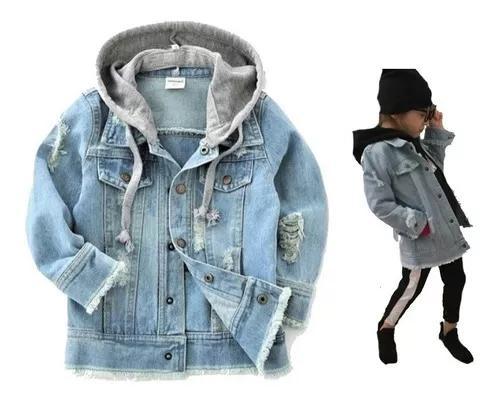 Jaqueta jeans infantil capuz criança menina tam 4 ao 8