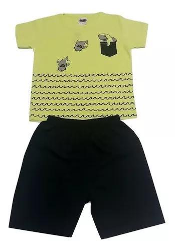 Kit 8 conjuntos infantil menino verão roupa criança