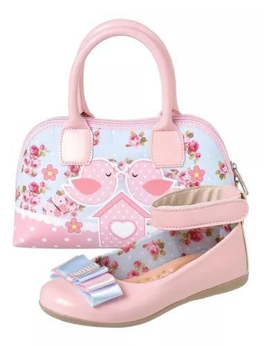 Kit de sapatilha infantil menina com bolsa jardim encantado