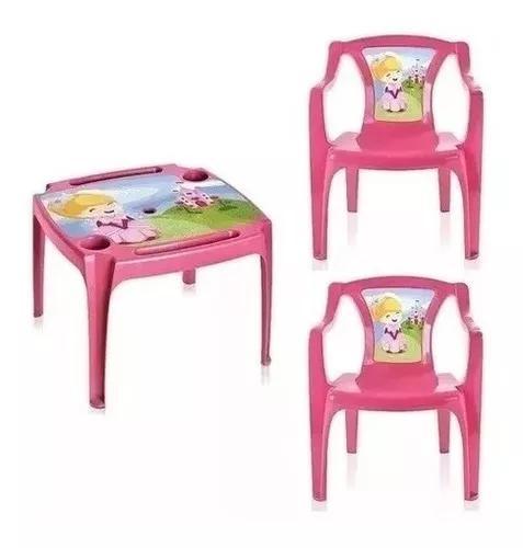 Mesa princesas mesinha infantil c/2 cadeiras menina + brinde