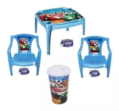 Mesinha infantil 2 cadeiras azul menino + com brinde copos